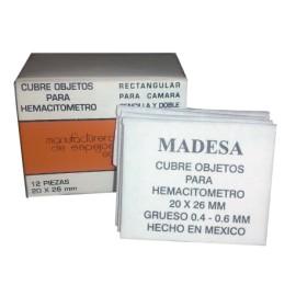 CUBRE OBJETOS PARA HEMATOCITOMETRO 20X26 C/12 PZA - MADESA - Envío Gratuito